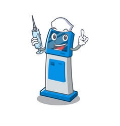 Nurse information digital kiosk with in cartoon vector