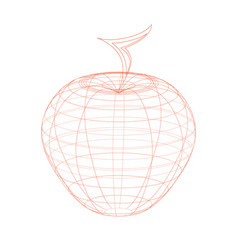 Outlined red apple on the white background vector