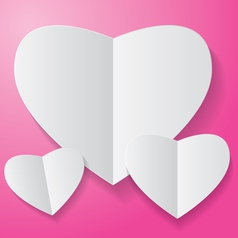 Paper heart on pink background vector