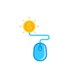 Pay per click icon with mouse and coin vector