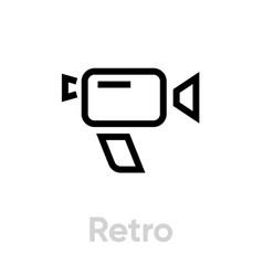 photo and video retro camera icon editable line vector image