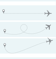 plane flight with dotted trace - airplane vector image