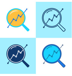 progress monitoring icon set in flat and line vector image