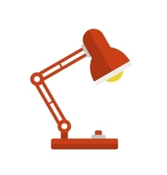 Red Desk Lamp Light Icon Flat Style vector