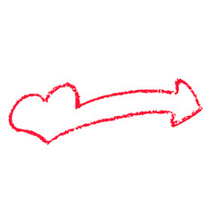 Red heart pointer chalk clipart for valetine day vector