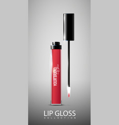 Red opened lip gloss tube concept vector