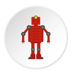 Red robot icon circle vector