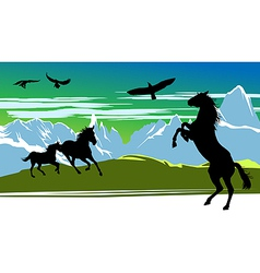 Running black horses and birds vector