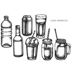 set hand drawn black and white glass vector image