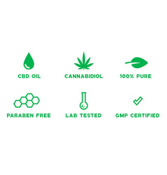 set medical cbd themed icons - 100 percent pure vector image