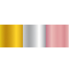 set metallic gold pink gold silver gradient vector image