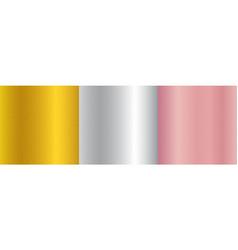 set metallic gold pink gold silver gradient vector image
