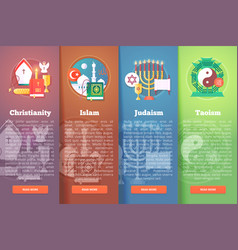 Set of religion flat banners religions and vector