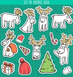 Set sticker deer doodle different poses for design vector image