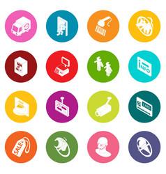 Shop navigation foods icons set colorful circles vector