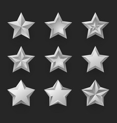 silver stars isolated realistic vector image