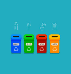 sorting garbage infographic recycling bins vector image