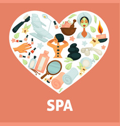 spa procedures promotional poster with vector image
