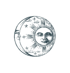 Sun crescent in engraving style drawing vector
