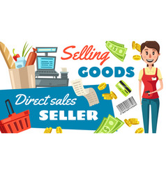 supermarket seller profession poster vector image