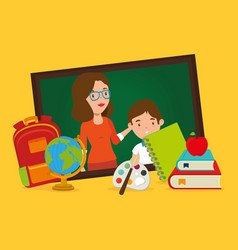 teacher female with school supplies vector image