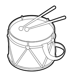 Toy drum icon outline style vector