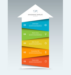 up arrow infographic template with 5 options vector image