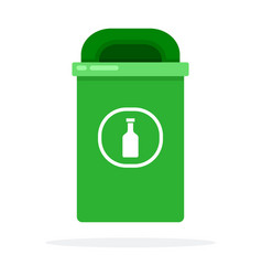 Urban waste bin for glass flat isolated vector