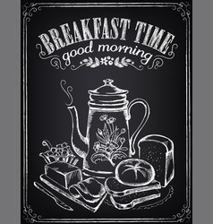 vintage poster breakfast time teapot and vector image