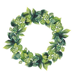 Watercolor hop wreath vector