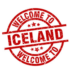 Welcome to iceland red stamp vector