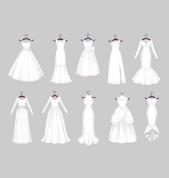 White wedding dresses on hangers marriage clothes vector