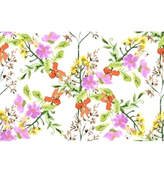 Wild flowers seamless pattern vector image