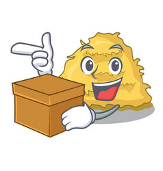 With box hay bale character cartoon vector