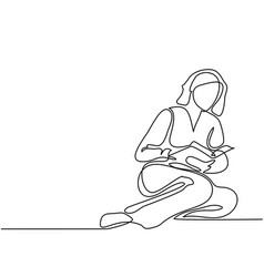 young woman reading book vector image