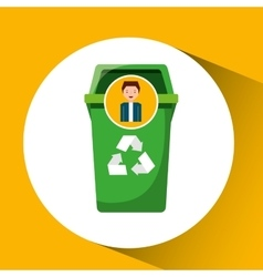 cute boy recycle ecology icon trash can vector image vector image