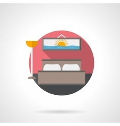 Hotel room detailed flat color icon vector image