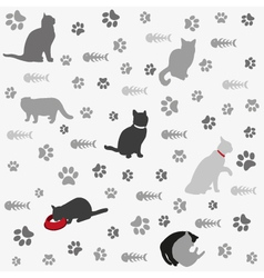 Background with cats paw print and fish bone vector image vector image