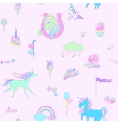Blue unicorn on pink background with clouds vector