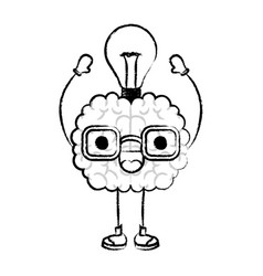 brain cartoon with glasses and light bulb on top vector image vector image