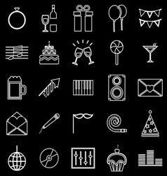 Celebration line icons on black background vector image vector image