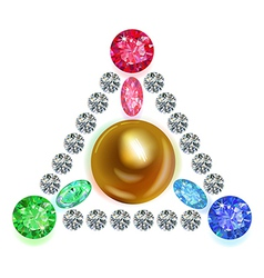 Equilateral triangle composition colored gems set vector image