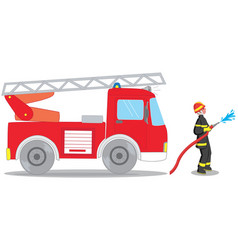 firefighter and truck vector image