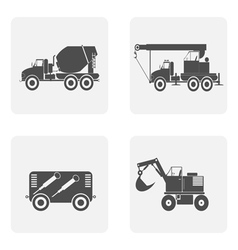 monochrome icon set with construction equipment vector image vector image