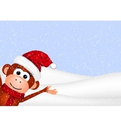 New Year greeting card with cheerful monkey in vector image vector image