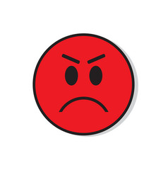 Red angry sad face negative people emotion icon vector