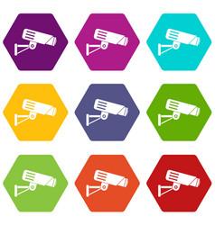 security camera icon set color hexahedron vector image