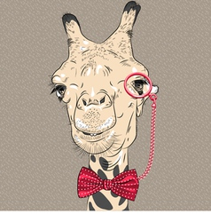 sketch closeup portrait of funny giraffe hipster vector image