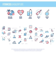 Fitness equipment sports training items weight vector image