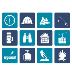 Flat travel Tourism vacation and mountain object vector image vector image
